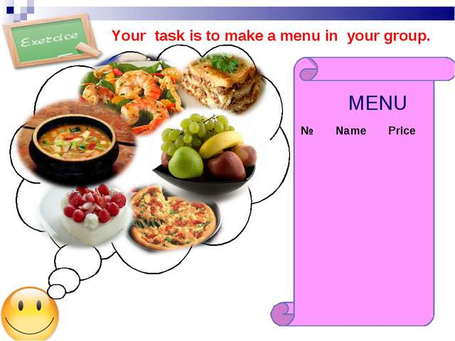 MENU Your task is to make a menu in your group. №	Name	Price