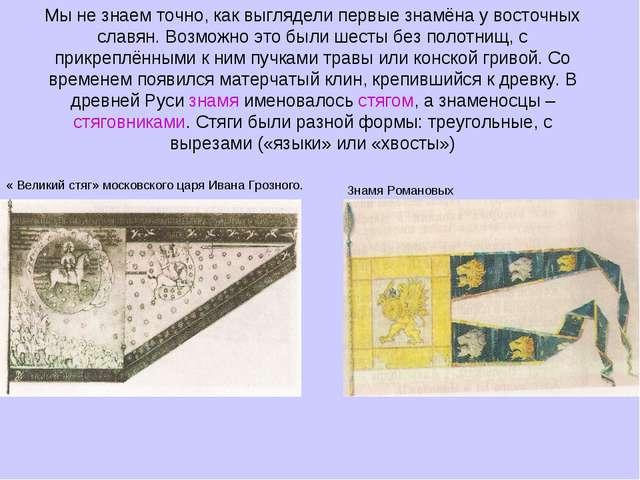 Мы не знаем точно, как выглядели первые знамёна у восточных славян. Возможно...