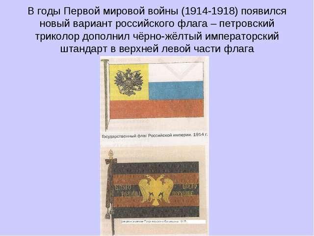 В годы Первой мировой войны (1914-1918) появился новый вариант российского фл...