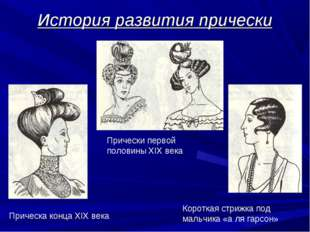 История развития прически Прически первой половины XIX века Прическа конца XI