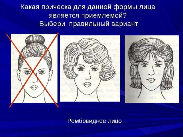 Какая прическа для данной формы лица является приемлемой? Выбери правильный в...