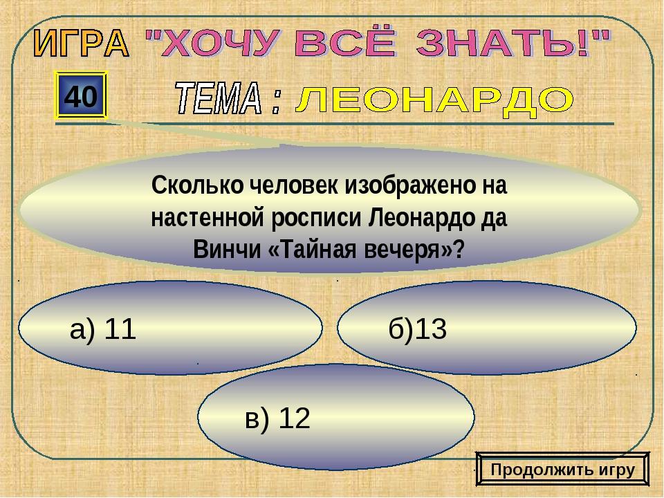 а) 11 в) 12 б)13 40 Сколько человек изображено на настенной росписи Леонардо...