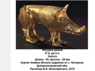 Фигурка кабана IV в. до н.э. Золото Длина - 50, высота - 28 мм Курган Хомина