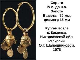 Серьги IV в. до н.э. Золото Высота - 70 мм, диаметр 35 мм Курган возле с.Кам
