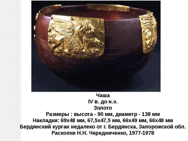 Чаша IV в. до н.э. Золото Размеры : высота - 90 мм, диаметр - 138 мм Накладки...