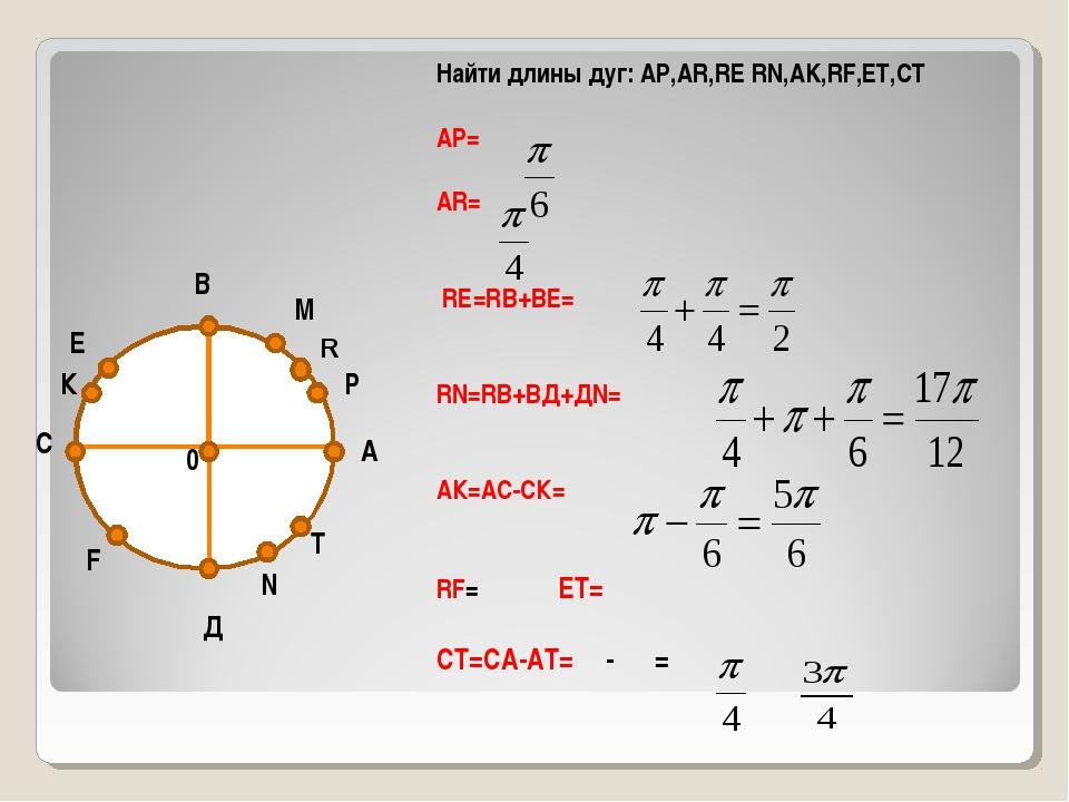 А В С Д 0 М Р К Е N T Найти длины дуг: АР,АR,RE RN,AK,RF,ET,CT АР= АR= RE=RВ+...