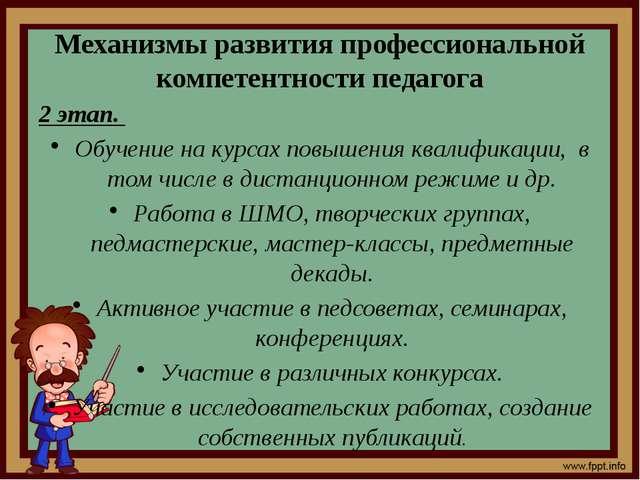 Механизмы развития профессиональной компетентности педагога 2 этап. Обучение...