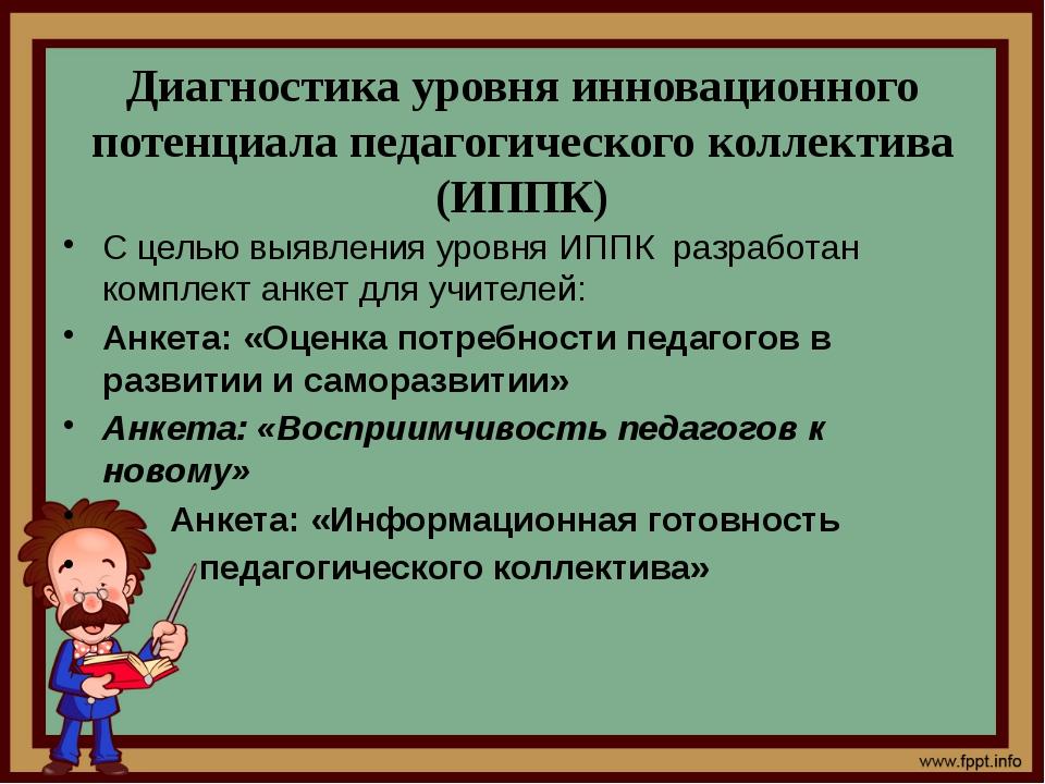 Диагностика уровня инновационного потенциала педагогического коллектива (ИПП...