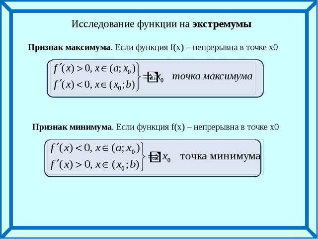 Признак максимума. Если функция f(x) – непрерывна в точке х0 Признак минимум...