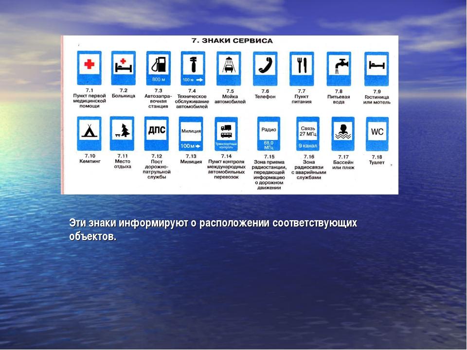 Эти знаки информируют о расположении соответствующих объектов.