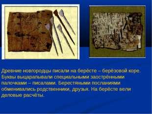 Древние новгородцы писали на берёсте – берёзовой коре. Буквы выцарапывали спе