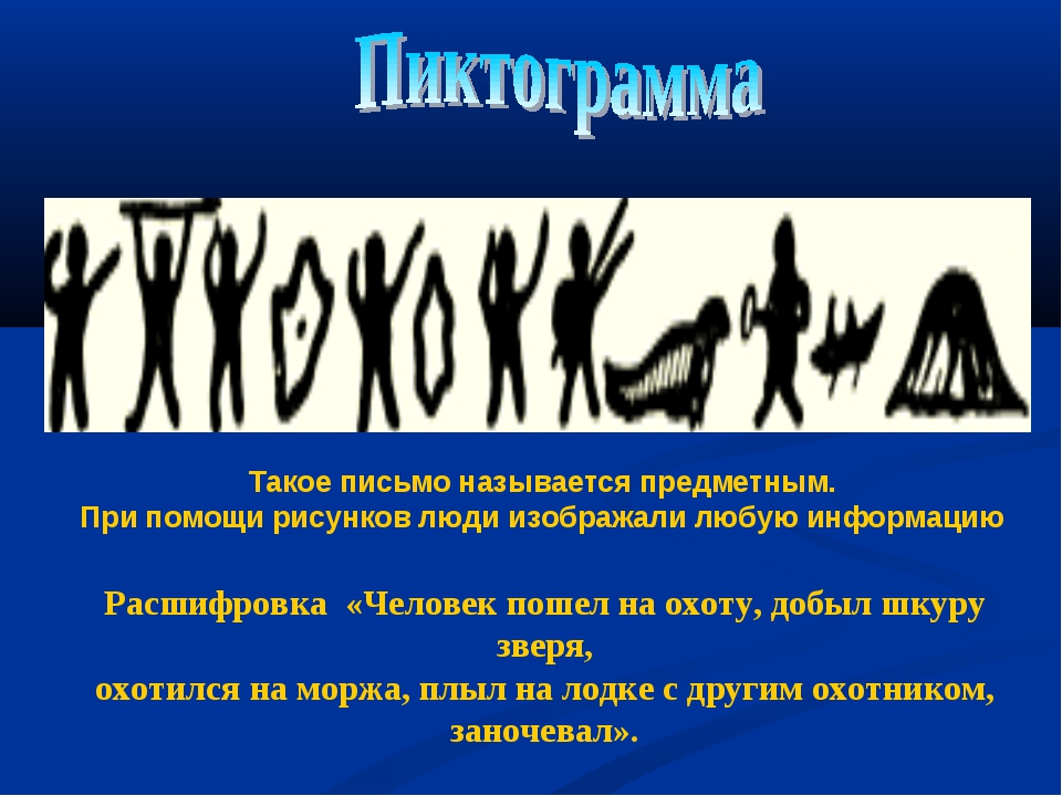 Расшифровка «Человек пошел на охоту, добыл шкуру зверя, охотился на моржа, пл...
