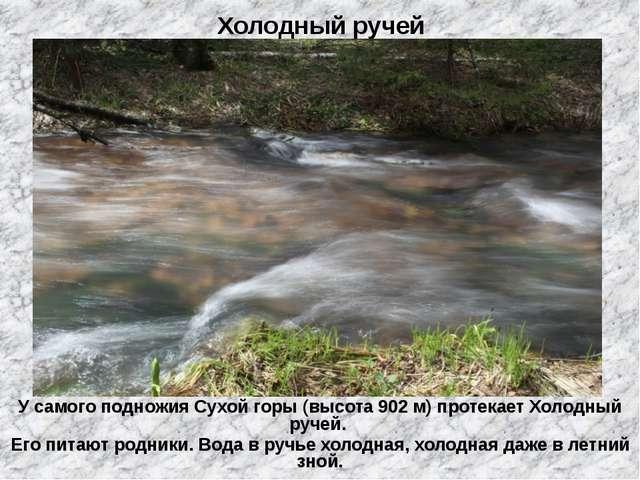 Холодный ручей У самого подножия Сухой горы (высота 902 м) протекает Холодный...