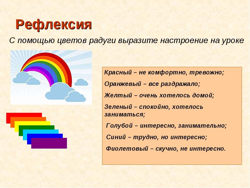 Рефлексия С помощью цветов радуги выразите настроение на уроке Красный – не к...