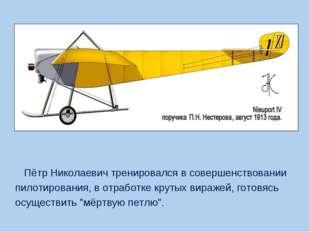 Пётр Николаевич тренировался в совершенствовании пилотирования, в отработке