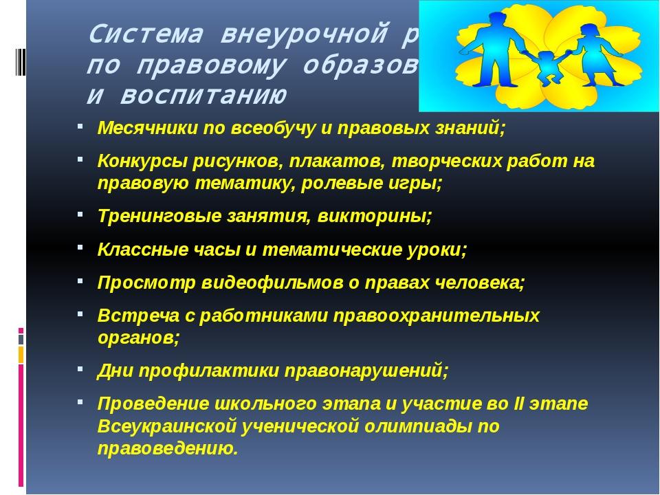 Система внеурочной работы по правовому образованию и воспитанию Месячники по...