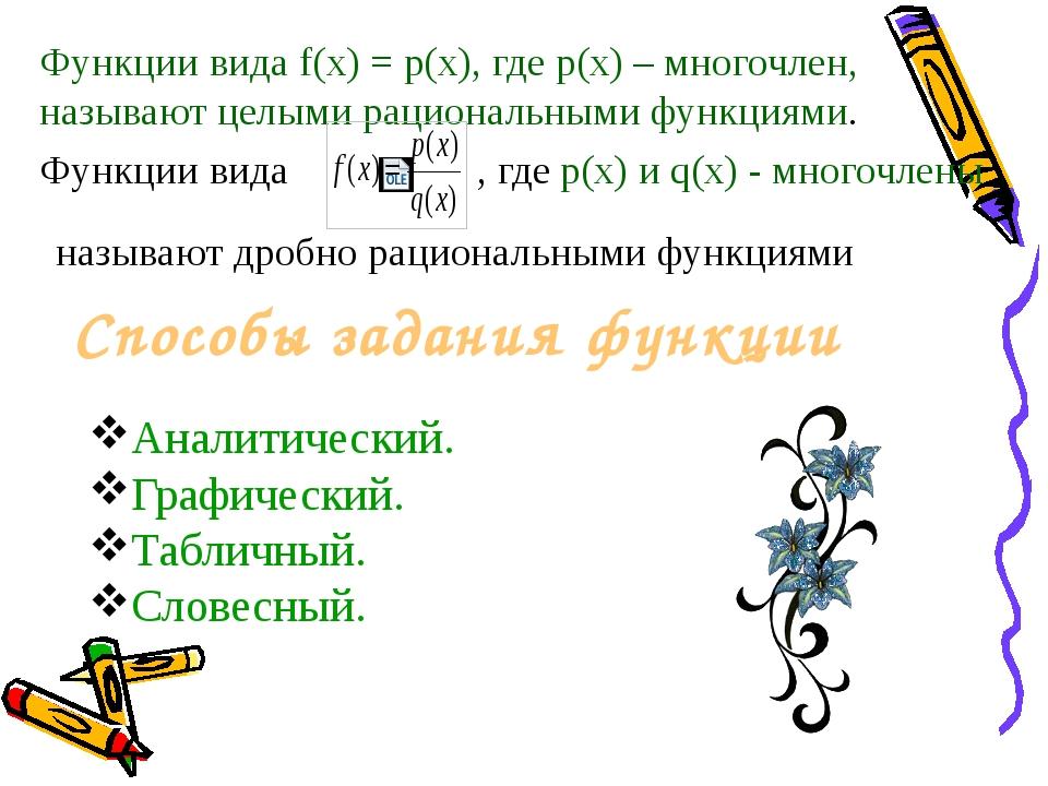 Словесный способ задания функции. Каждому значению переменной х ставится в со...