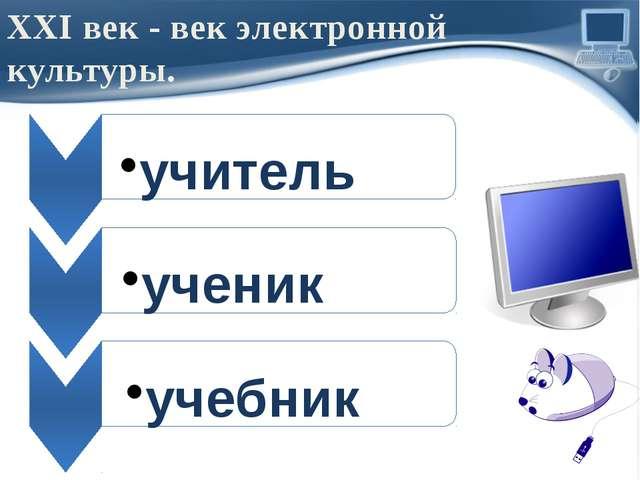 XXI век - век электронной культуры. учитель ученик учебник ProPowerPoint.Ru