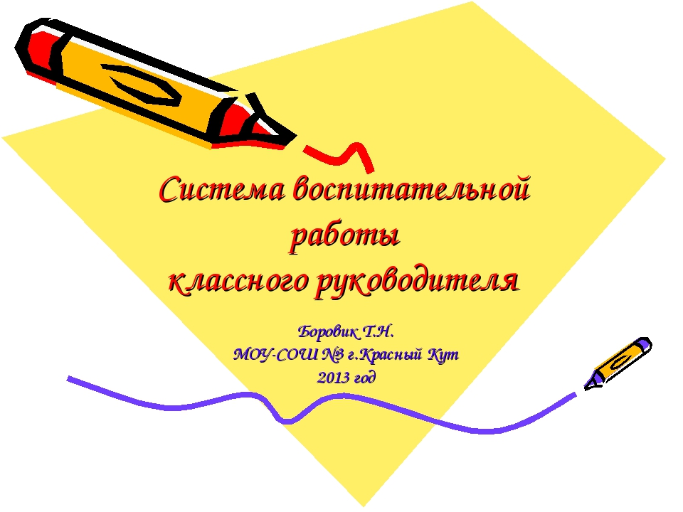 Система воспитательной работы классного руководителя Боровик Т.Н. МОУ-СОШ №3...