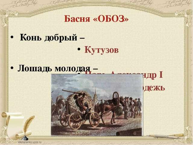 Басня «ОБОЗ» Конь добрый – Лошадь молодая – Атаманова И.В. Кутузов Царь Алекс...