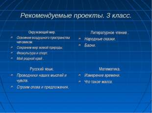 Рекомендуемые проекты. 3 класс. Окружающий мир. Освоение воздушного пространс