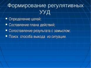 Формирование регулятивных УУД Определение целей; Составление плана действий;