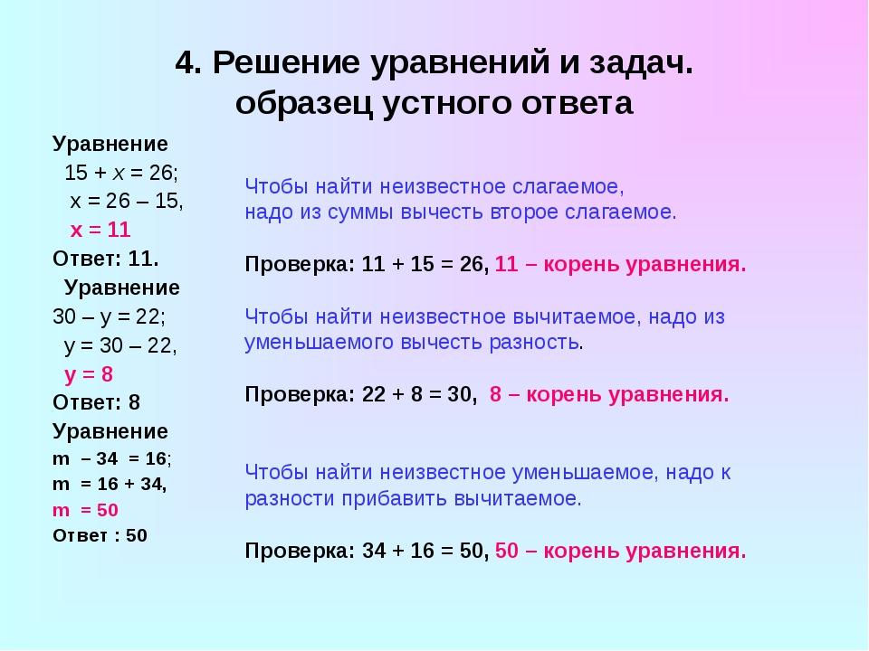 4. Решение уравнений и задач. образец устного ответа Уравнение 15 + x = 26; х...