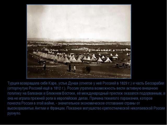 Турция возвращала себе Каре, устье Дуная (отнятое у неё Россией в 1829 г.) и...