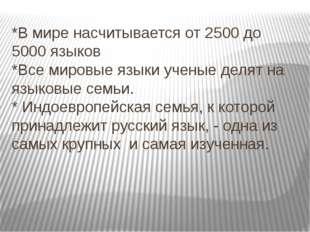 *В мире насчитывается от 2500 до 5000 языков *Все мировые языки ученые делят