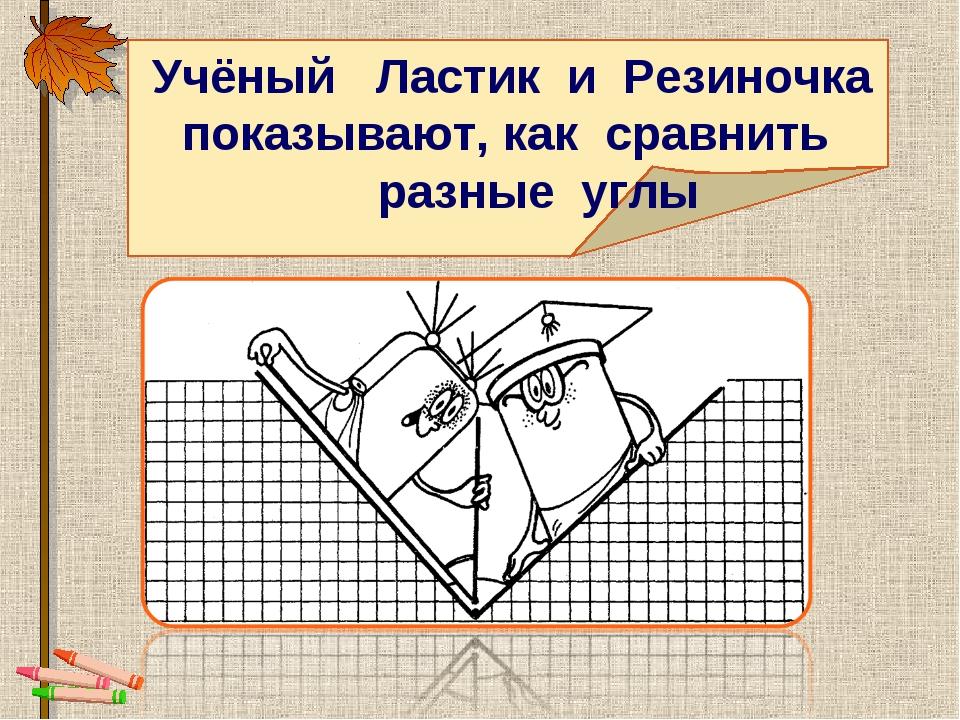 Учёный Ластик и Резиночка показывают, как сравнить разные углы