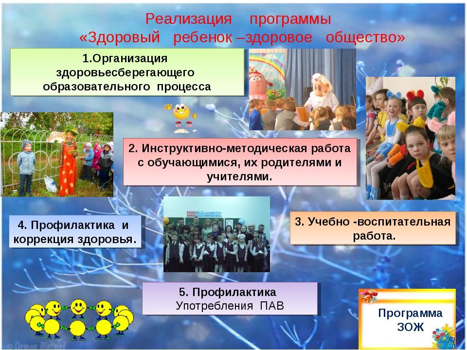 Реализация программы «Здоровый ребенок –здоровое общество» Программа ЗОЖ 1.Ор...