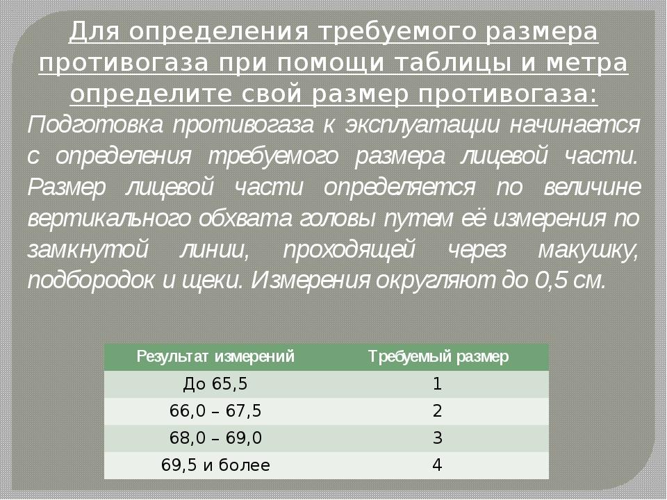 Для определения требуемого размера противогаза при помощи таблицы и метра опр...