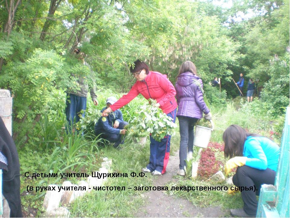 С детьми учитель Щурихина Ф.Ф. (в руках учителя - чистотел – заготовка лекарс...