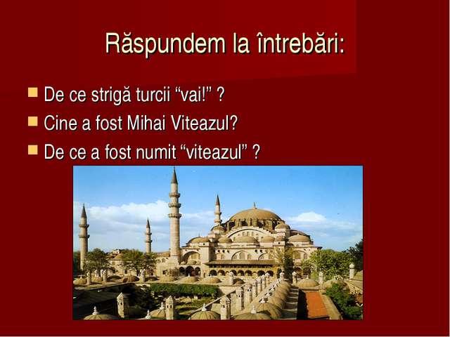 """Răspundem la întrebări: De ce strigă turcii """"vai!"""" ? Cine a fost Mihai Viteaz..."""