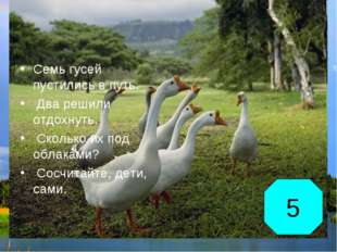 Семь гусей пустились в путь. Два решили отдохнуть. Сколько их под облаками? С