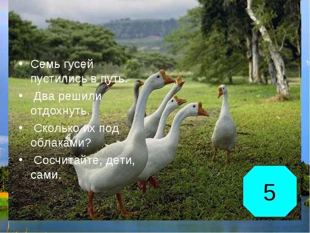 Семь гусей пустились в путь. Два решили отдохнуть. Сколько их под облаками? С...