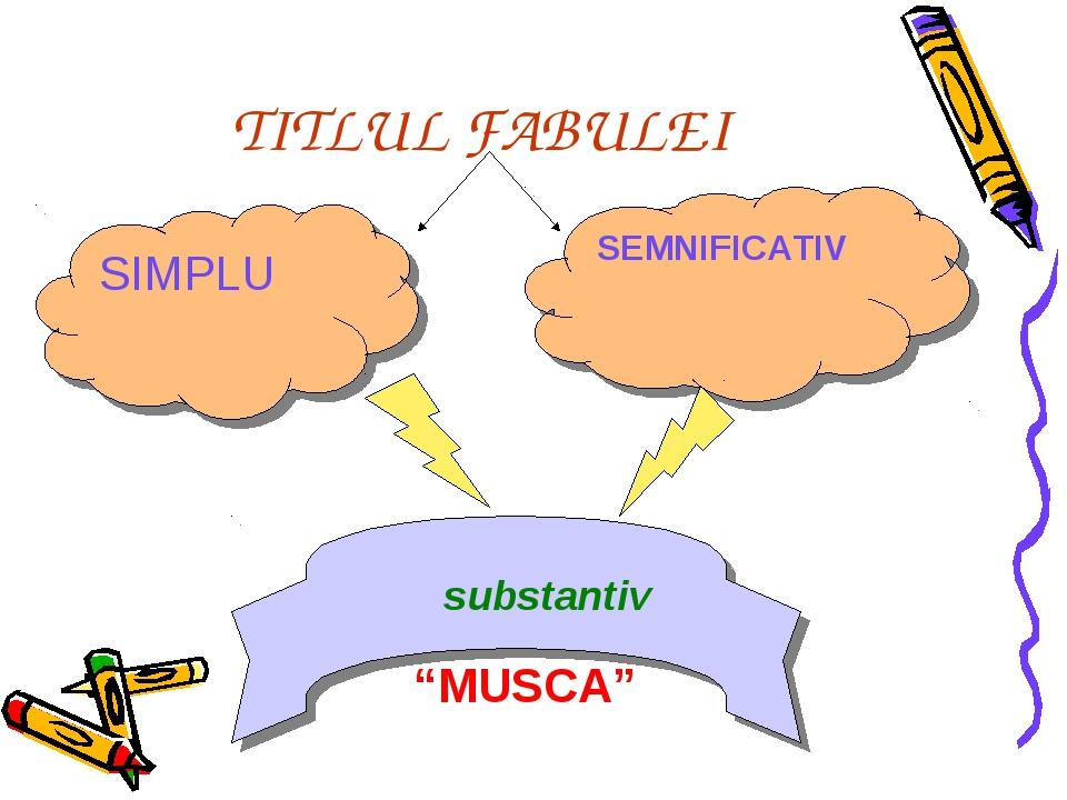 """TITLUL FABULEI SIMPLU SEMNIFICATIV substantiv """"MUSCA"""""""