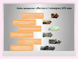 Раздел программы: «Россия в 1 четверти XIX века.