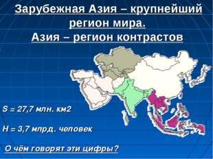 Зарубежная Азия – крупнейший регион мира. Азия – регион контрастов S = 27,7