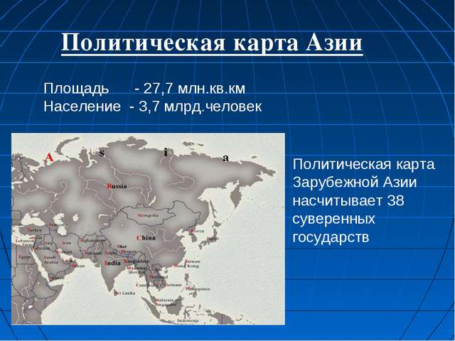 Политическая карта Азии Площадь - 27,7 млн.кв.км Население - 3,7 млрд.человек...