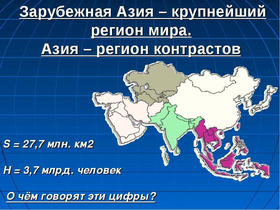 Зарубежная Азия – крупнейший регион мира. Азия – регион контрастов S = 27,7...