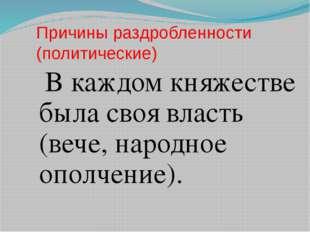 Причины раздробленности (политические) В каждом княжестве была своя власть (в