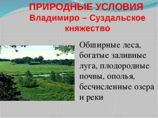 ПРИРОДНЫЕ УСЛОВИЯ Владимиро – Суздальское княжество Обширные леса, богатые за