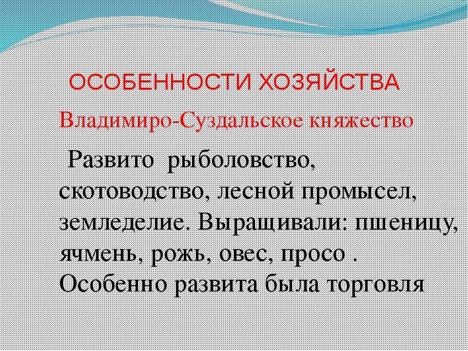 ОСОБЕННОСТИ ХОЗЯЙСТВА Владимиро-Суздальское княжество Развито рыболовство, ск...