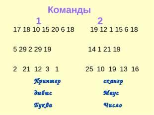 Команды 12 17 18 10 15 20 6 18 19 12 1 15 6 18  5 29 2 29 19  14 1 2