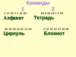 Команды 12 Алфавит Тетрадь Циркуль Блокнот 1 13 22 1 3 10 20 20 6 20 18