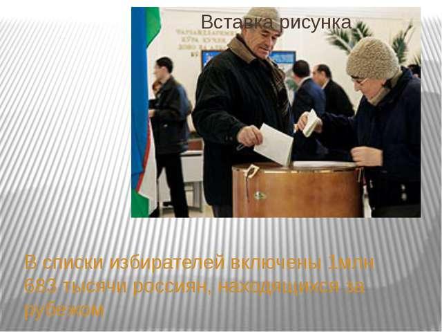 В списки избирателей включены 1млн 683 тысячи россиян, находящихся за рубежом