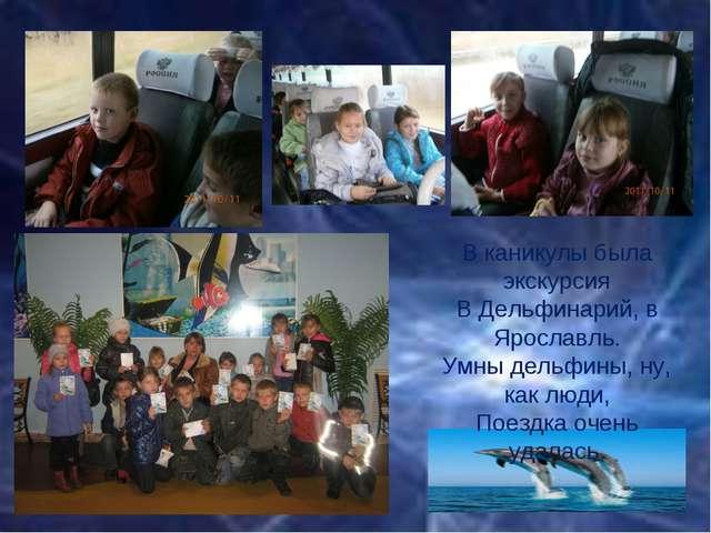 В каникулы была экскурсия В Дельфинарий, в Ярославль. Умны дельфины, ну, как...