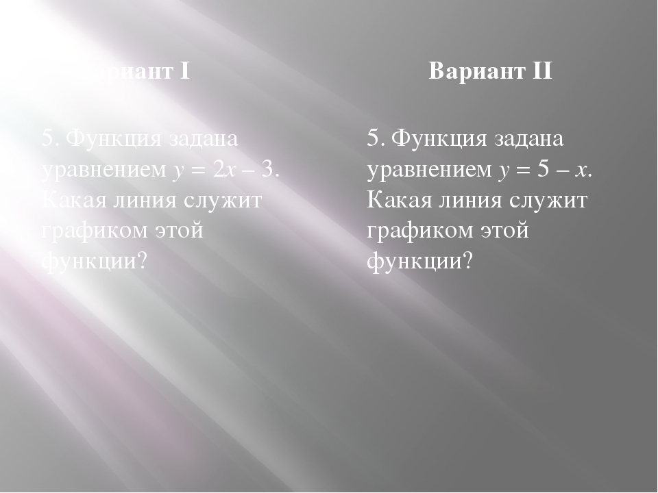 Вариант I Вариант II 5. Функция задана уравнением y = 2x – 3. Какая линия слу...