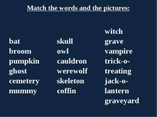 Match the words and the pictures: bat broom pumpkin ghost cemetery mummy	sku